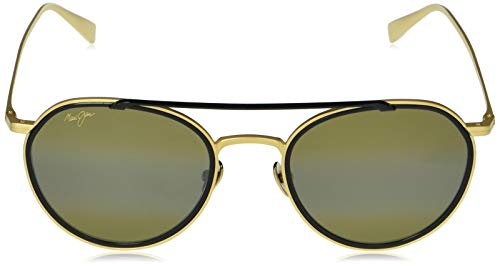 Maui Jim - Gafas de sol unisex para adulto, Dorado (Oro mate con borde negro brillante/bronce Hcl polarizado), Medium