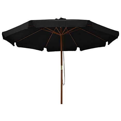 Kshzmoto Sombrilla de jardín con Palo de Madera Parasol para Terraza Jardín Balcón Mástil Protección UV y Impermeable Negro 330 cm