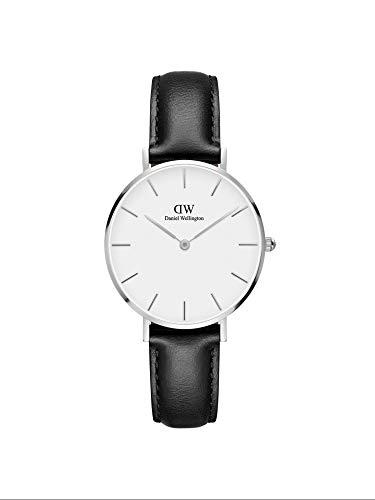 Daniel Wellington Petite Sheffield, Schwarz/Silber Uhr, 32mm, Leder, für Damen