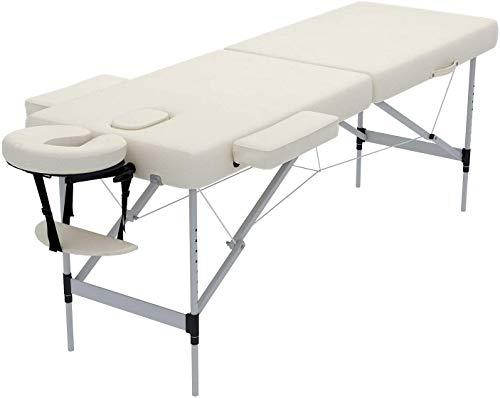Nager Dauerhafte Massageliege Mobile Massagebett Tragebare Massagetisch 2 Zonen höhenverstellbaren Massagebank mit Aluminium-Füßen für SPA, Tattoo, Therapie Bett,Weiß
