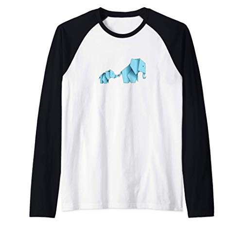 Lindo origami azul elefantes Japón papel plegable japonés Camiseta Manga Raglan