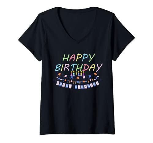 Mujer Cumpleaños Shirt Feliz cumpleaños a todas las mujeres Camiseta Cuello V