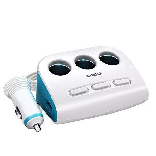 Riloer Adaptador de encendedor de cigarrillos, 12 V/24 V, 2 enchufes, divisor de encendedor de cigarrillos con doble cargador USB para iPhone, Samsung, iPad, Android, GPS, etc.