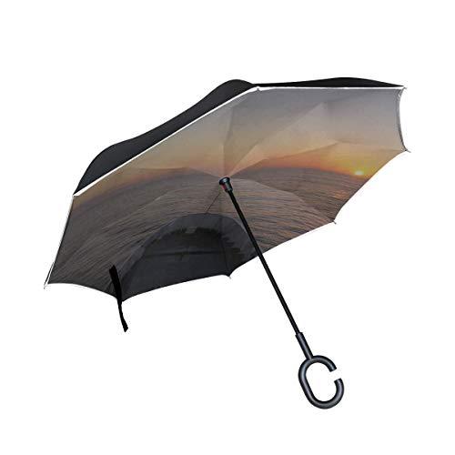 Double couche Inverted parapluie réversible mer Bateau Bateau Sunrise marin Îles Baléares Umbrella Enfants Umbrella pliant arrière for les femmes coupe-vent Uv Protection for la pluie avec poignée en
