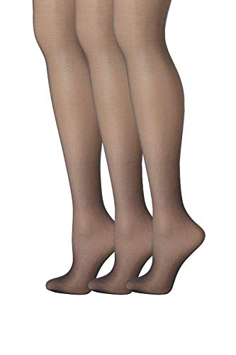 Hanes Womens Set of 3 Silk Reflections Control Top Sheer Toe Pantyhose CD, Classic Navy