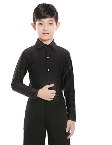 Daydance Boys Dance Shirts Ballroom Tops Tango Salsa Dance Wear Black