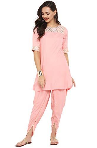 Janasya Indian Tunic Tops Rayon Kurti Set for Women (SET075-KR-DH-XXXL) Pink