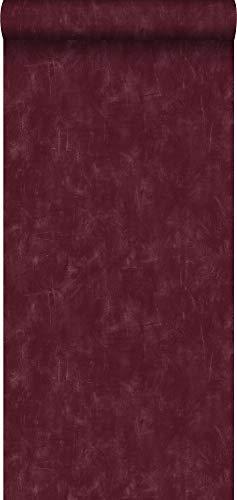 papel pintado pintura de tiza con textura eco liso con efecto de pintado rojo burdeos intenso - 148724 - de ESTAhome