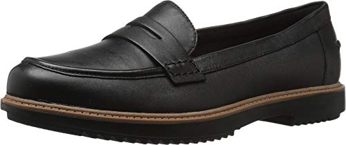 Clarks Women's Raisie Eletta Penny Loafer, Black Leather, 8.5 M US