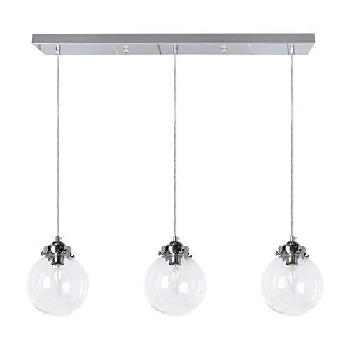 PUZHI HOME 3-Light Modern Kitchen Island Light Industrial Chandelier Light Fixture Glass Pendant Ceiling Light Pendant Lighting for Modern Kitchen Dining Room Living Room