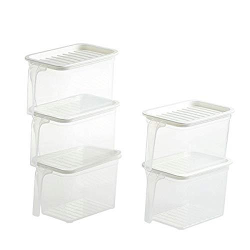 SMX Set van 5 Duidelijke Keuken Opslag Containers - Koelkast Vriezer en Koelkast Container Doos met Deksel - Grote Plastic Dozen voor Prep Food, Pantry en Fruit Houder/Rek Plank/Lade