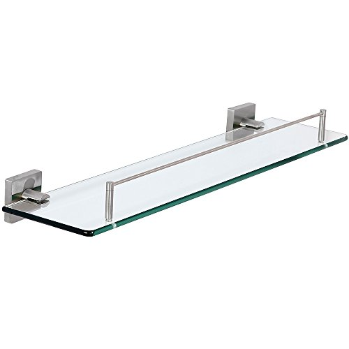 Modern Flat Brushed Glass Shelf | Clean Lines & Premium Quality Stainless Steel Towel Shelf with Hanging Bar | Satin Finished Wall Mounted Contemporary Design | Bathroom Toiletries or Entrance Hall