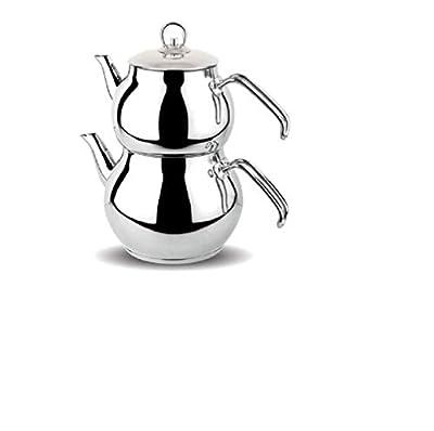 Papatyam Teapot Set Turkish Tea Kettle Stovetop Warmer Tea Maker 18/10 Stainless Steel (Mini with Metal Handles)
