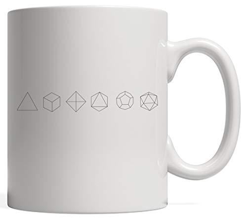 N\A Taza de geometría Sagrada de sólidos platónicos para Piezas geométricas y Dados en Juegos de Mesa Amante o Profesor de matemáticas o Estudiante