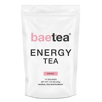 Baetea Energy Tea--Natural Herbal Tea - Increase Focus and Boost Energy. Supports Natural Weight Loss. 14 Pyramid Tea Bags.