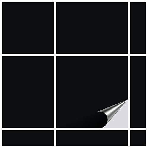 FoLIESEN Fliesenaufkleber 10x10 cm - Fliesen-Folie Bad - Klebefolie Küche - 80 Klebefliesen, Schwarz matt