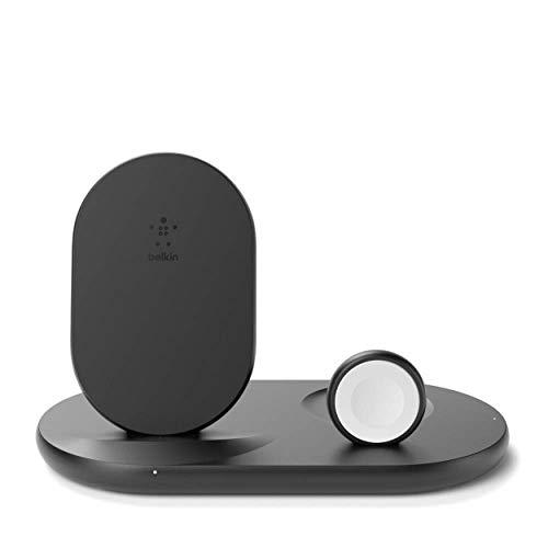 Belkin drahtloses 3-in-1 Ladegerät (kabellose 7,5-W-Ladestation für iPhone, Apple Watch & AirPods) – kabelloses Ladedock, drahtlose iPhone Ladestation, Apple Watch Ladeständer – Schwarz