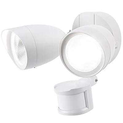 LEONLITE LED Outdoor Security Light, Dual Head Exterior Flood Lights with Motion Sensor, 20W(120W Eqv.), IP65 Waterproof, 5000K Daylight, UL & Energy Star Listed Outdoor Security Flood Light, White