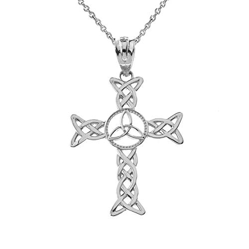 Certified 10k White Gold Celtic Cross Trinity Knot Pendant Necklace, 18'