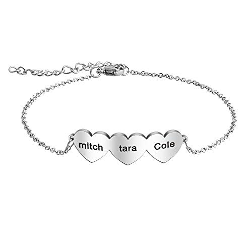 Valentines Day Gifts/Friendship Gifts for Women Personalised Bracelet with Name, Customized Hearts Bracelets BFF Birthday Gift Stainless Steel Jewellery for Women
