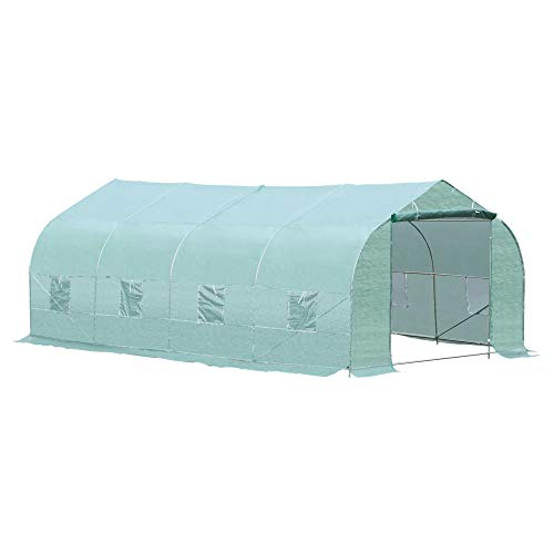 Outsunny 20' x 10' x 7' Deluxe High Tunnel Walk-in Garden Greenhouse Kit with 8 Roll Up Windows & Steel Frames, Green
