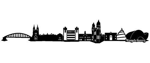 Samunshi® Wandtattoo Magdeburg Skyline Wandaufkleber in 7 Größen und 19 Farben (120x19,5cm schwarz)