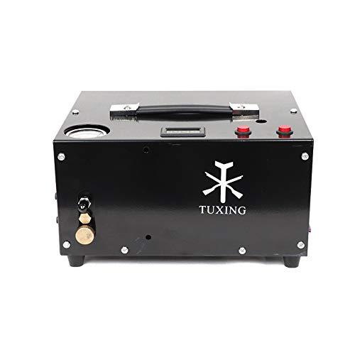 TUXING TXET061-1 300Bar 30Mpa, compresor Pcp portátil de 12 V, sin aceite, alimentación por 12 V CC o 220 V CA para el hogar con adaptador, rifle de aire comprimido para inflar Pcp