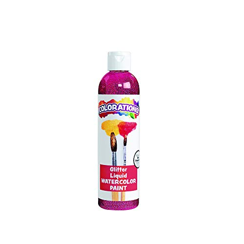 Colorations Liquid Glitter Watercolor Paint, 8 Fluid Ounces oz, Magenta, Non-Toxic, Painting, Kids, Craft, Hobby, Fun, Water Color, Posters, Cool Effects, Versatile, Gift (Item # GLWCMA)