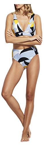 Seafolly Women's High Waisted Bikini Bottom Swimsuit with Cheeky Coverage, Aloha Steel Blue, 12 US