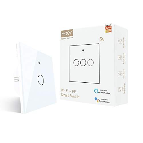 MOES Interruptor Inteligente Luz Sin Neutro WiFi Conmutador pared Compatible con Alexa y Google Home, trabajo con apps Smart L ife y Tuya, Control de control remoto RF433