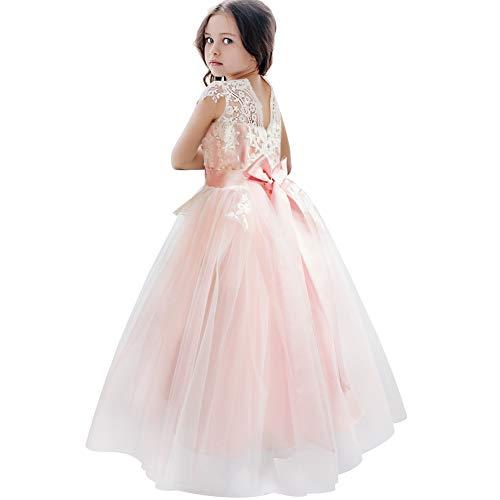 CQDY Blumenmädchenkleider Tüll Puffy Party Sleeveless Brautjungfer Spitze Abschlussball Pageant Kleider Hochzeit Geburtstag Weihnachtsfeier (8-9 Jahre, Rosa)