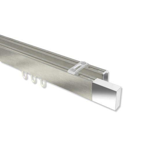 INTERDECO Innenlauf-Gardinenstangen (Deckenbefestigung) eckig Edelstahl-Optik/Chrom doppelläufig Smartline (Universal) Lox, 320 cm