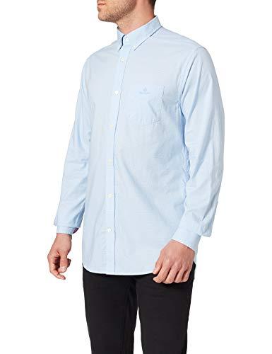GANT D1.Reg BC Micro Check Contrast BD Camicia, Blu Capri, M Uomo