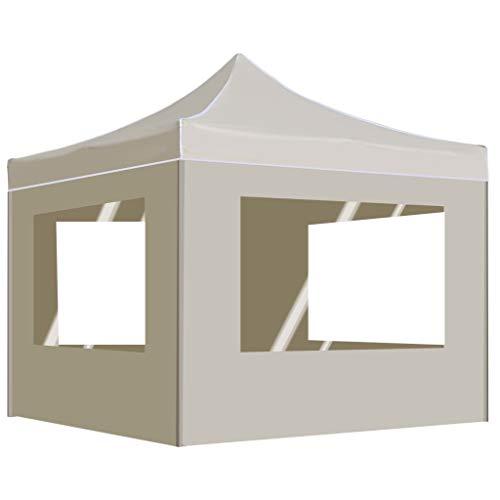UnfadeMemory Profi-Partyzelt Faltbar Zelt Aluminiumlegierung-Rahmen 2 x 2 m Faltpavillon Gartenzelt Eventpavillon Sonnenschutz 200x200cm Weiß (Creme, mit Seitenwand)