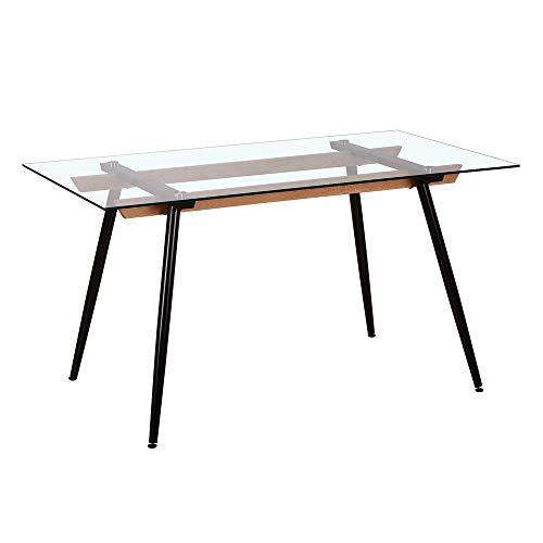 Mesa de Comedor Caballete de Cristal y Metal Negra de 140x80x75 cm - LOLAhome