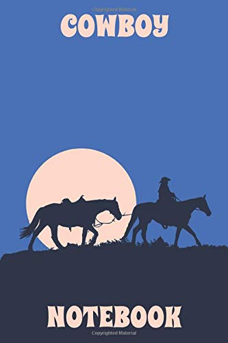 Cowboy Notebook - Horses - Night - Blue - Light Orange - College Ruled