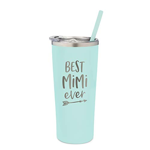 SassyCups Best Mimi Ever Tumbler | 22 Ounce Engraved Mint Stainless Steel Insulated Tumbler with Lid and Straw | Mimi Tumbler | New Mimi | Mimi To Be | Mimi Grandma Presents | For Mimi Birthday