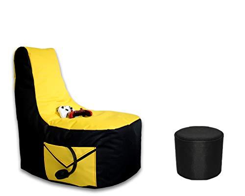 Lacasa Gaming Sitzsack 85x80x35 mit Seitentasche und Hocker Erwachsene Sessel XXL kompatibel mit PS4 XboxOne Nintendo Switch Outdoor Indoor Bodenkissen Sitzkissen in Schwarz & Gelb