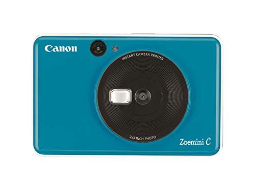 Canon Zoemini C Sofortbildkamera digital 5 MP (Sofortdruck, Sucher, Blitzlicht, Micro SD Kartenslot, Selfie Spiegel (11x8 mm), 5 x 7,6 cm Aufkleber, ZINK Druck tintenfrei), seaside blue