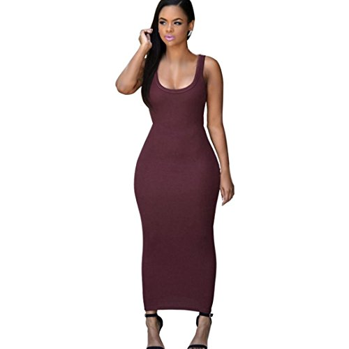 Usstore Women Dress Bandage Bodycon Party Cocktail Maxi Long Dresses (Asia M, Wine red)