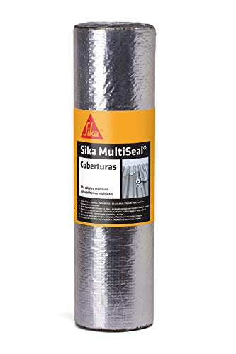 Sika Multiseal Cobertura Aluminio, Fita Impermeável Auto-Adesiva, Fácil aplicação: destacou, colou. Veda na hora, Preto, Rolo 0,5x10m