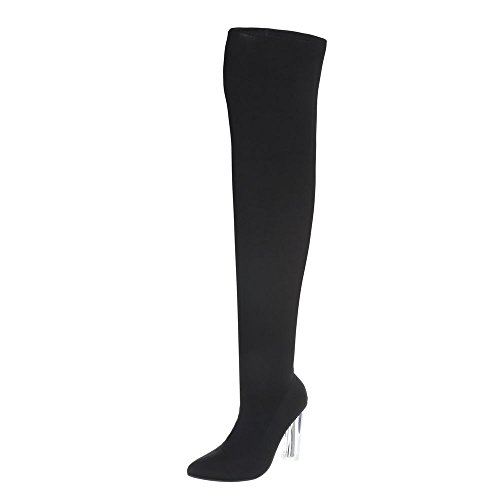 Ital-Design Overknees Damen-Schuhe Overknees Pump High Heels Reißverschluss Stiefel Schwarz, Gr 38, S-11-