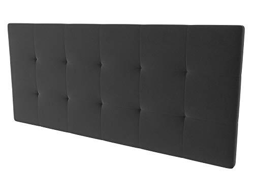 LA WEB DEL COLCHON - Cabecero tapizado Corfú para Cama de 160 (170 x 70 cms) Gris Oscuro Textil Suave | Cama Juvenil | Cama Matrimonio | Cabezal Cama |