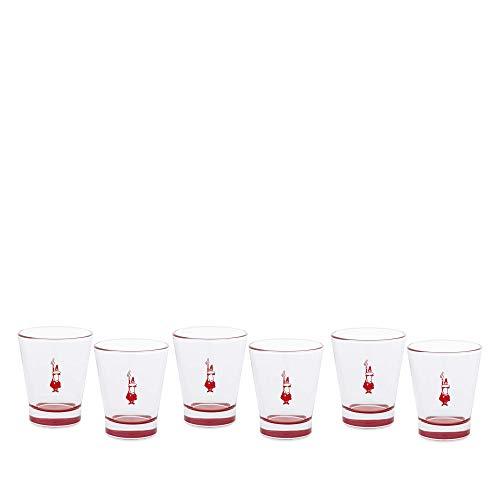 Bialetti DCRAST0010 Set 6 Bicchierini in Vetro Red, Rossi