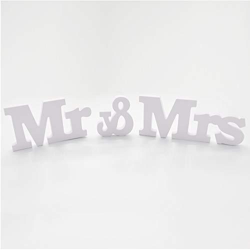 Anyasen Mr & Mrs Letras de Madera Decoraciones Letras de Madera Mr & Mrs Decoracion de la Boda para Decoración Mesa Boda Decoración de la Sala del Hogar de la Boda