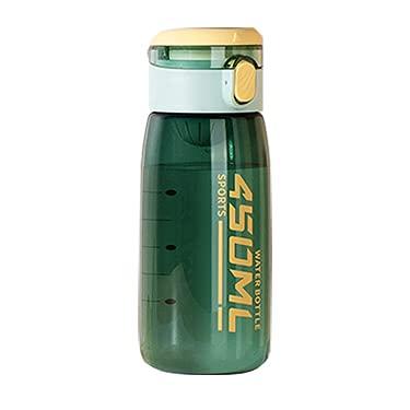 Borraccia da 450 ml con bilancia e maniglia per il trasporto morbida per adolescenti, senza BPA e a prova di perdite con apertura a scatto (verde)