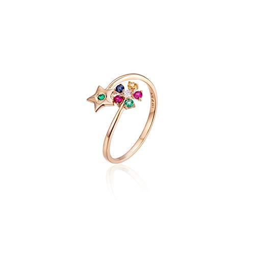 Daesar Anillos de Oro Rosa de 18 Kilates Estrella con Flor Diamante Colorido 0.03ct Talla 6,75-25