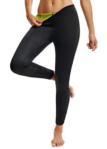 FITTOO Damen Neopren Schwitzhose Zum Training, Figurformende Legging für Yoga Joggen, Sport Mädchen Abnehmen Schlanke Fitnesshose Schwarz-Gelb S