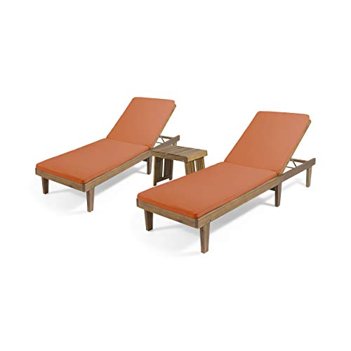Christopher Knight Home 312736 William Outdoor Acacia Wood 3 Piece Chaise Lounge Set, Teak Finish, Rust Orange