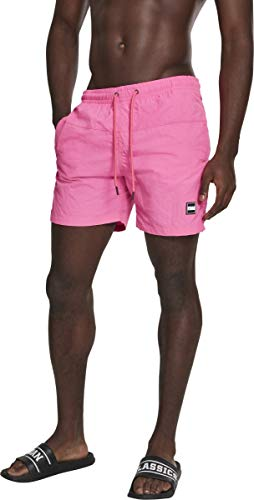 Urban Classics Herren Block Swim Shorts Badehose neonpink L